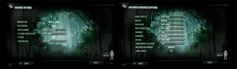 Crysis Graphics settings