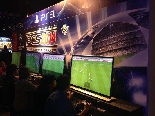 PES 2014 was on show to take on its rival