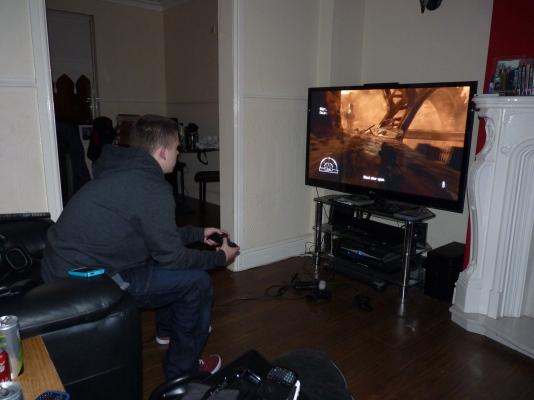 Lazy gamer hard at work