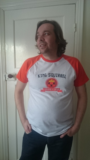 Me wearing the Tearaway Squirrel King Tee